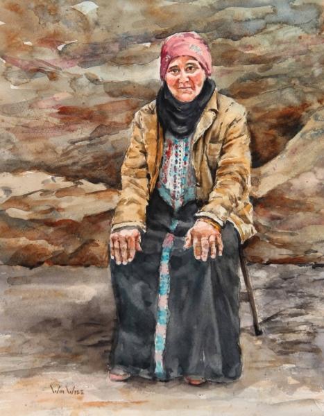 """Petra Jordan Woman Watercolor 10.5""""x13.5"""" 2020 10"""